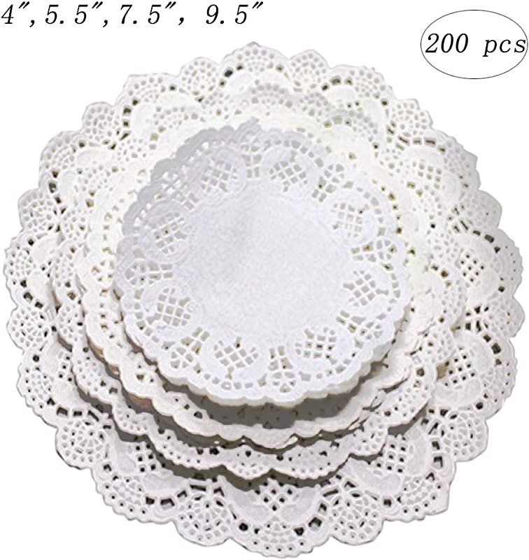 Kalolary Paper Lace Doilies Round White 200 Pcs 4 Inch Disposable Cake Doilies Coaster For Plates Crafts Wedding Invitation Decor