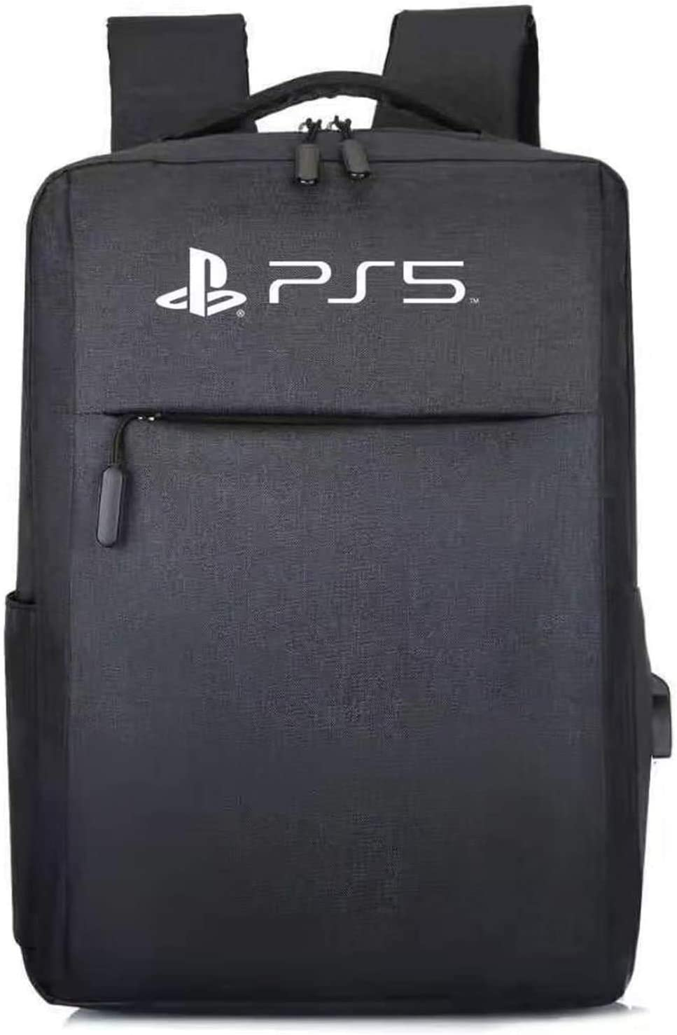 PS5 Backpack Laptop Travel Bag, Waterproof Nylon Travel with USB Connector, Game Console Carry Case & Controllers Storage Protective Case for Playstation 5/PS4/PS5 Accessories
