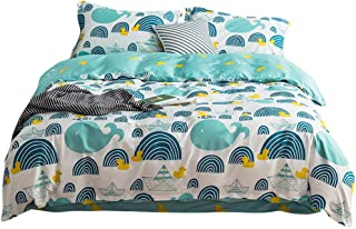LAYENJOY Whale Duvet Cover Set Twin Size Cartoon Fish Boat Duck Ocean Nautical 100% Cotton Bedding Set for Kids Teens Boys Girls Reversible Comforter Cover, No Comforter