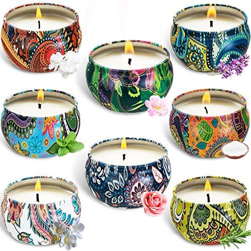 BEYAOBN Velas aromáticas para el hogar, Set de Regalo de Velas perfumadas de 8 Piezas, Vela de estaño de aromaterapia de Cera Natural de Viaje, Vela de Cera de Soja 100% en una Lata
