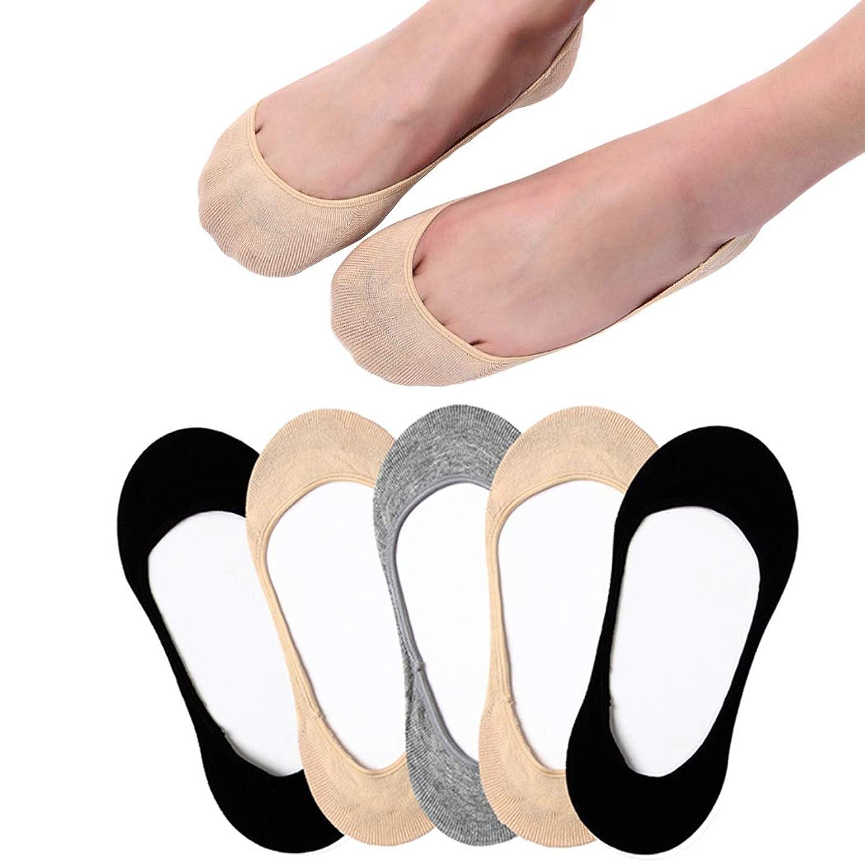 フットカバー レディース 超浅履きソックス パンプス靴下 滑り止め付き 脱げない ズレない 3/5足セット
