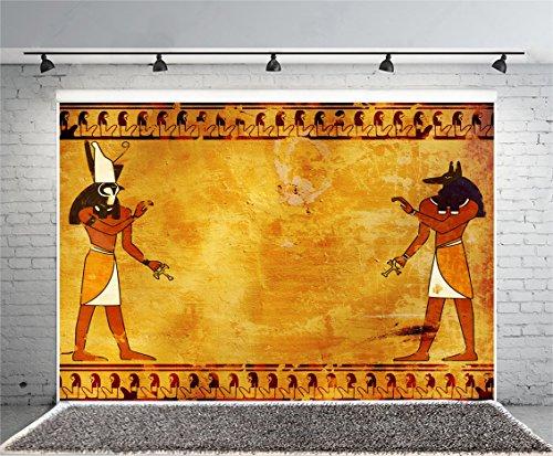 Leowefowa 10X8FT Ancient Egyptian Backdrop Anubis and Horus Egyptian Frescoes Shabby Texture Graffiti Abstract Wallpaper Vinyl Photography Background Kids Adults Photo Studio Props