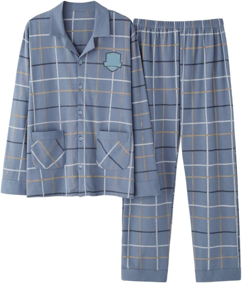 Men Cotton Long-Sleeve Plaid Pajamas Set,Autumn Winter Cardigan Soft Skin-Friendly Sleepwear,Top and Bottoms Button Home Loungewear,Blue,L