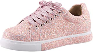 Wadonerful-women Fashion Canvas Sequins Glitter Low Top Sneaker Lace-up Outdoor Casual Sports Shoes for Walking