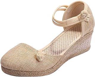 comprar comparacion Luckycat Sandalias Mujer Cuña Alpargatas Plataforma Bohemias Romanas Mares Playa Gladiador Verano Tacon Planas Zapatos Zap...