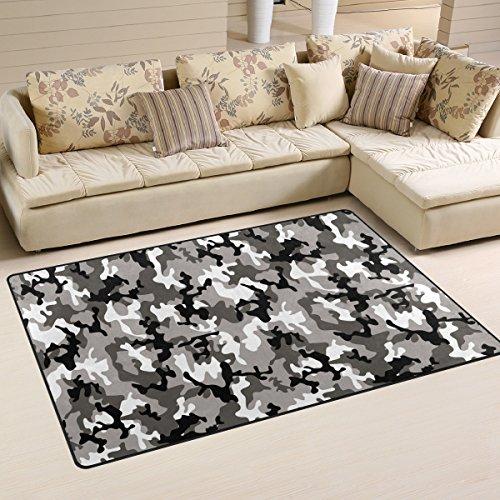 COOSUN Camouflage Grey Area Rug Carpet Non-Slip Floor Mat Doormats for Living Room Bedroom 60 x 39 inches