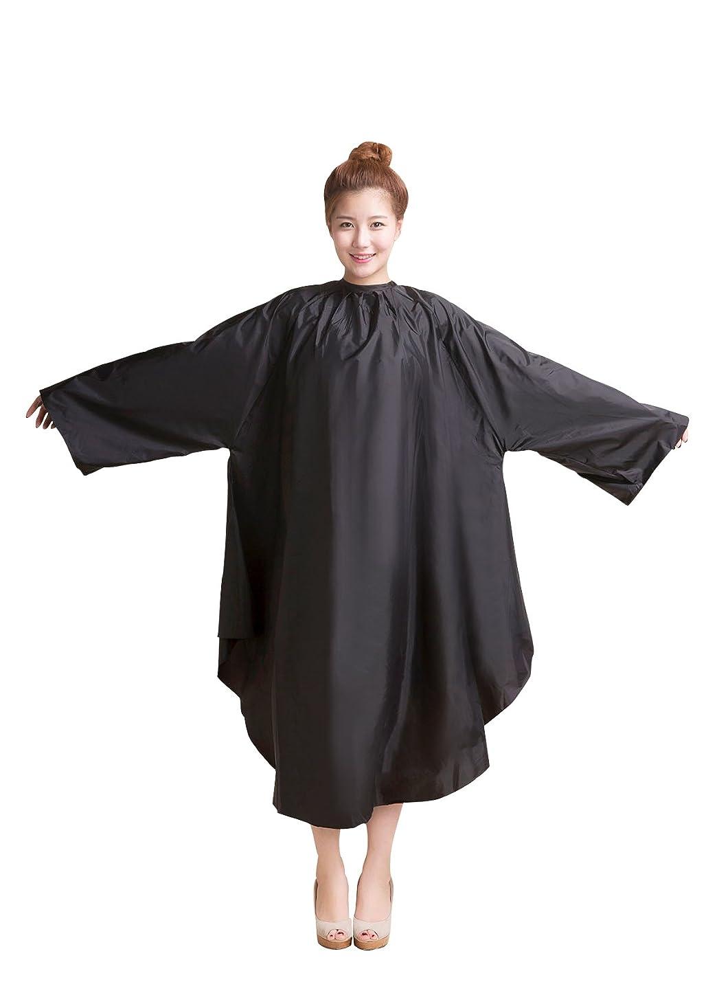 と組むほかに壮大な袖付カラークロス/マジックタイプ 全2色【大きい椅子対応】 (ブラック)