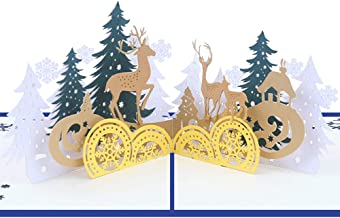 Sanwooden Lovely Greeting Card Creative 3D Pop Up Handmade Christmas Forest Deer Greeting Card Xmas Decor Gift Fashion Chr...
