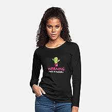 Warning Not A Hugger Prickly Cac, Long-Sleeve Shirts, Halloween Long-Sleeve T Shirts, Halloween Long Sleeve T Shirts For Women
