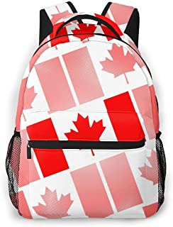 Unisex Backpack National Flag of Canada Day Abstract Dotted Bookbag Lightweight Laptop Bag for School Travel Outdoor Camping