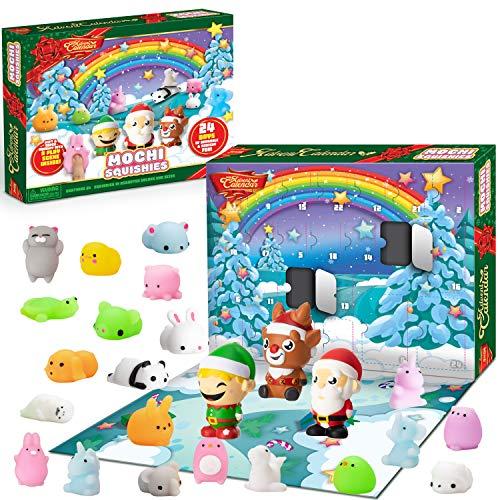 JOYIN 2020 Mochi Squishy Advent Calendar Christmas 24 Days Countdown Advent Calendar Including 21 Cute Mochi Animal Squishies and 3 Big Slow-Rising Squishy Toy