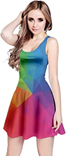 Womens Colorful Vector Abstract Geometrical Polygonal Iridescent Gem Pattern Sleeveless Dress, XS-5XL