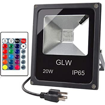 GLW LED RGB Flood Light, 20W Outdoor Color Changing Lights with Remote Control, IP65 Waterproof Dimmable Wall Washer Light, Flood Lamp 16 Colors 4 Modes with US 3-Plug