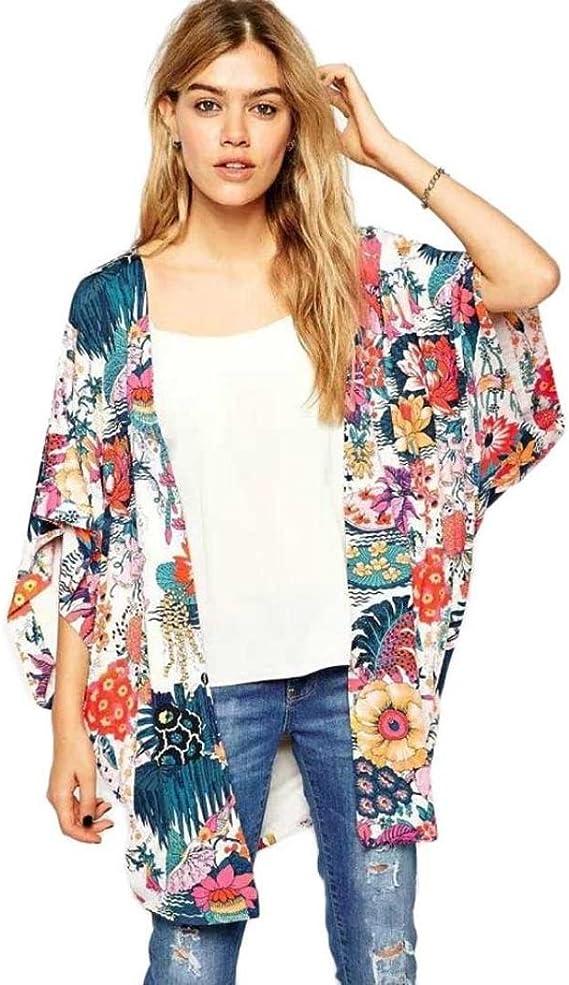 DEELIN Blusa Suelta De Gasa con Estampado De Flores Casual para Mujer De Kimono