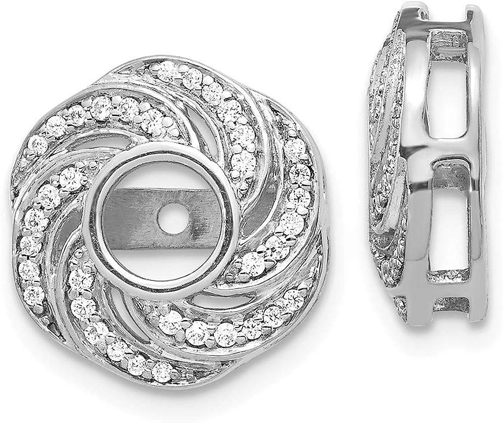 Solid 14K White Gold Swirl Diamond Jacket Earring 14mm (.252 cttw.)