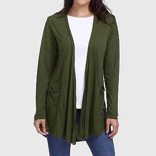 359b9c5cf86 SUNNSEAN Abrigos Mujer Cárdigan Chaqueta de Punto Manga Larga Jersey con  Bolsillos Largo Suéter Camiseta de