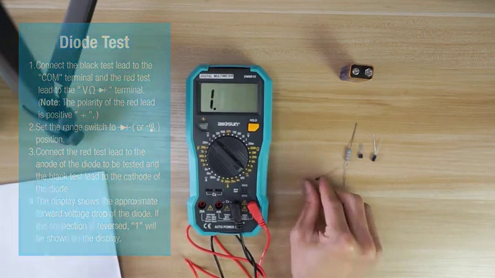 AideTek VC97 Digital Auto Range Multimeter Tester Capacitor Amp Voltage AC DC Temp Diode Buzz Frequency