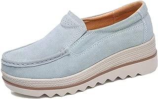 Deals Comfy Slip-On Casual Platform Shoes for Women Platform Slip On Loafers Comfort Wedge Shoes