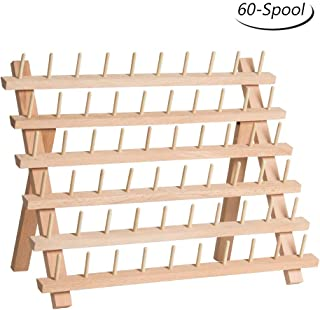 HAITRAL 60-Spool Thread Rack, Wooden Thread Holder Sewing Organizer for Sewing, Quilting, Embroidery, Hair-braiding (Renewed)