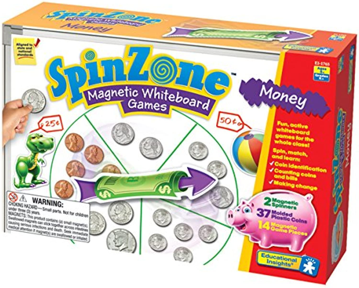 Educational Insights EI-1765 Spinzone Magnetic Weißboard Money Games