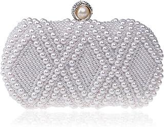Womens Clutch Bag,Elegant &Luxury Wedding Party Beaded Handbags Imitation Pearls Metal Frame Kissing Lock Satin Interior Evening Bag Clutches Wallet,White,6.5 * 10 * 20cm