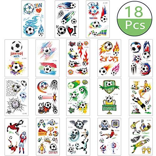 Integrity.1 Adesivi per Tatuaggi per Bambini,18 Pezzi Tatuaggi per Bambini da Calcio, Adesivi per Tatuaggi da Calcio Impermeabili, Forniture per Sport all'Aria Aperta e Festa per Bambini