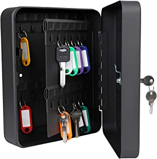 Uniclife 48 Key Cabinet Steel Security Key Organizer Lock Box Black Wall Mount