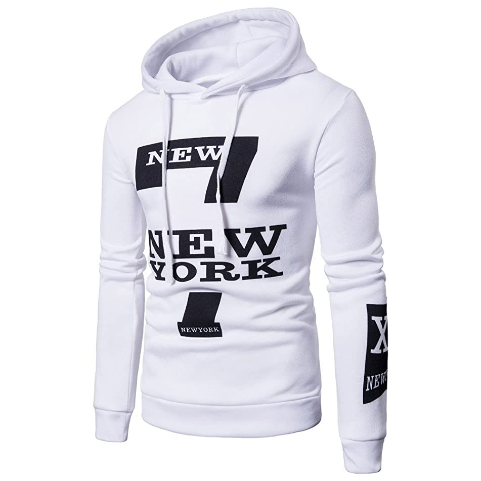 Clearance Sale! ! Charberry Mens Letter New York Printed Long Sleeve Sweater Hoodie Hooded Sweatshirt Top Tee Outwear Blouse (US-M/CN-L, White)