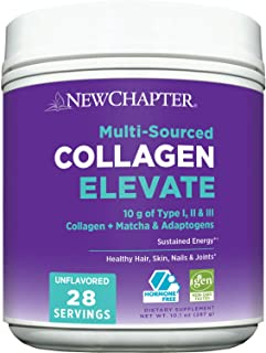 New Chapter Collagen Powder Elevate, 10g Collagen Peptides, (Types I, II, III), Unflavored, 28 Servings, Multi Sourced, Ad...