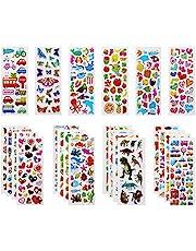 Vicloon Autocollants 3D pour Enfants Stickers 500+Pack,3D en Relief, 22 Feuilles Autocollants de Variétés pour Récompenser Scrapbooking, y Compris Animaux, Dinosaures, Numéros,etc