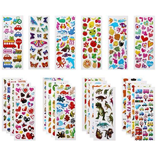 Vicloon Pegatinas para Niños 520+ 3D Puffy Pegatinas, 22 Hojas Variedad de Pegatinas para Regalos Gratificantes Scrapbooking Que Incluye Animales, Peces, Dinosaurios, Números, Frutas, Aviones y Más