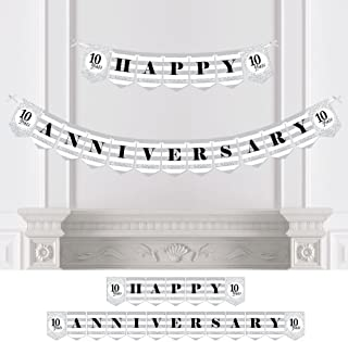 Big Dot of Happiness We Still Do - 10th Wedding Anniversary Party Bunting Banner - Silver Party Decorations - Happy Anniversary