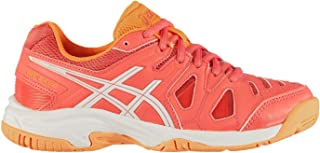 Official Brand Asics Gel Game 5 Junior Tennis Shoes Girls Trainers Orange Sports Footwear