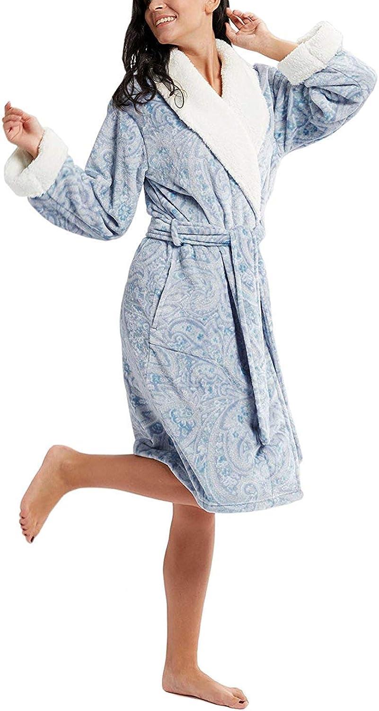 Ink+Ivy Plush Robes Women  Plaid Fleece Ladies Robe Bathrobe, Sherpa Collar & Cuff Trim