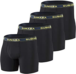 "SUMABA Mens 6"" Sport Performance Big and Tall Boxer Brief Bamboo No Ride up Long Leg Underwear Multi-Pack"