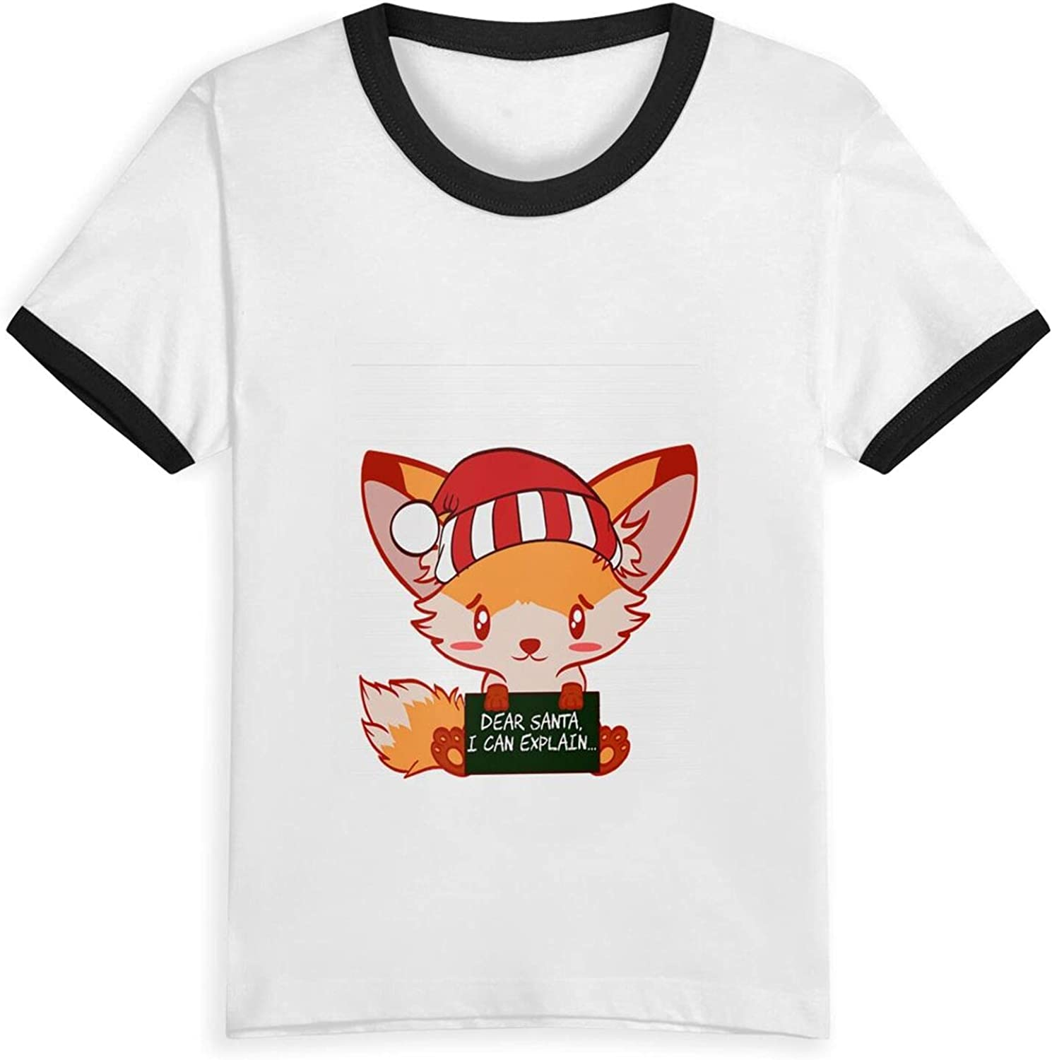 Funny Fox Dear Santa I Can Explain Naughty List Christmas T-Shirts Novelty for Youth Tees with Cool Designs