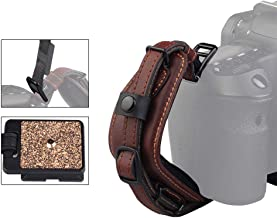 Camera Leather Wrist Hand Strap, LYNCA E6 Comfortable Camera Wrist Hand Grip Band with Quick Release Plate, Superior Hand Grip Stability & Security for Canon Nikon Sony DSLR Camera and More (Brown)