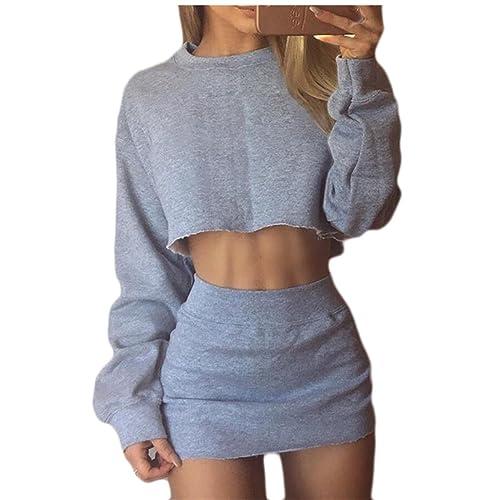 6b39759d1 Jaycargogo Women's 2 Piece Tracksuit Outfit Sport Long Sleeve Crop Top  Hoodies+Skinny Pencil Skirt