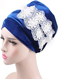 Fashian Lady Lace Velvet Muslim Turban Pleated Head Wrap Scarf Long Tail Hat Pre Tied Headwear Cancer Chemo Cap WJ-08 (Color : 5, Size : 170 * 26CM)