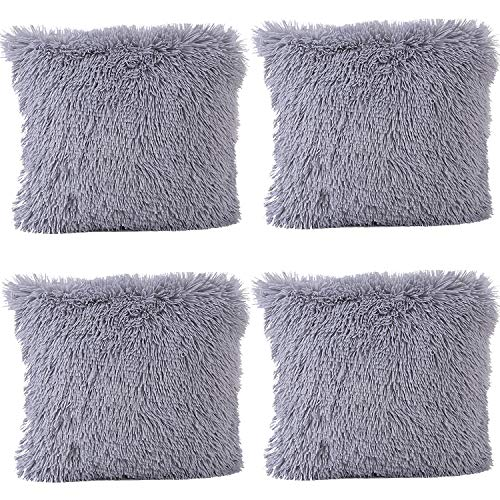 JOTOM Soft Solid Color Cushion Covers Waist Pillow Throw Case Square Pillow Cover for Car Seat Home Sofa Decor 43x43cm,Set of 4(Plush|Grey)
