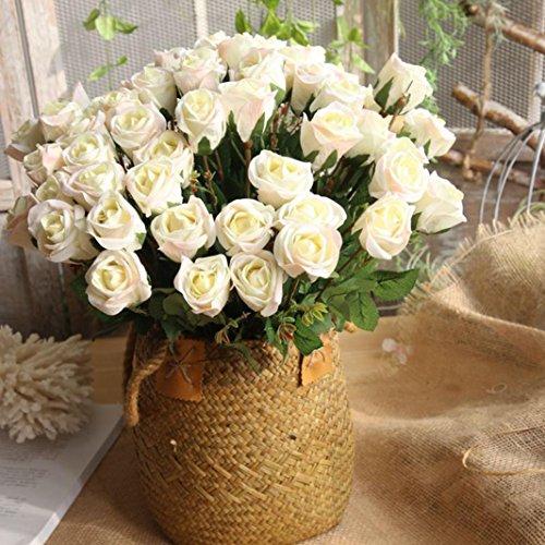Hunpta Lot de 8 roses artificielles en flanelle pour bouquet de mariée, fête de mariage, décoration d'intérieur (Blanc)