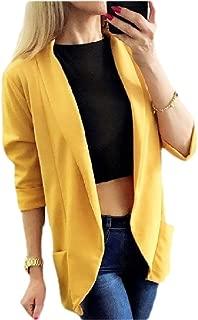Women's Blazer Slim Work Office Cardigan Open Front Long-Sleeves Blazer