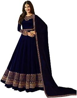 05277a85f3 Bandidhari Fashion Designer Fox Georgette Semi-stitched Gown With  Duptta(GW-13_Purple_Free Size