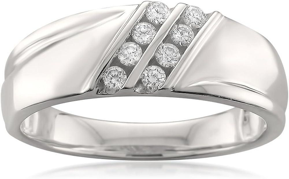 14k White Gold Double Row 8-Stone Round Diamond Men's Wedding Band Ring (1/4 cttw, H-I, SI2-I1)