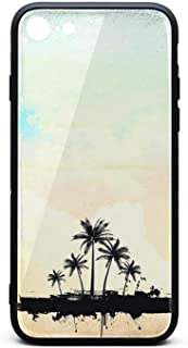 Phone Case for iPhone 8/iPhone 7 Hard Grunge Palm Trees Tempered Glass Black Anti-Scratch TPU Rubber Bumper Shock Cover for Womens Ladies Back Cover