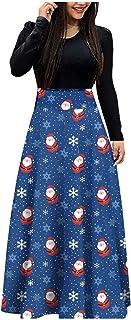 Briskorry Kerstjurk dames vintage retro cocktailjurk elegant kerstkostuum maxi-jurk kerstman print party jurk vintage retr...
