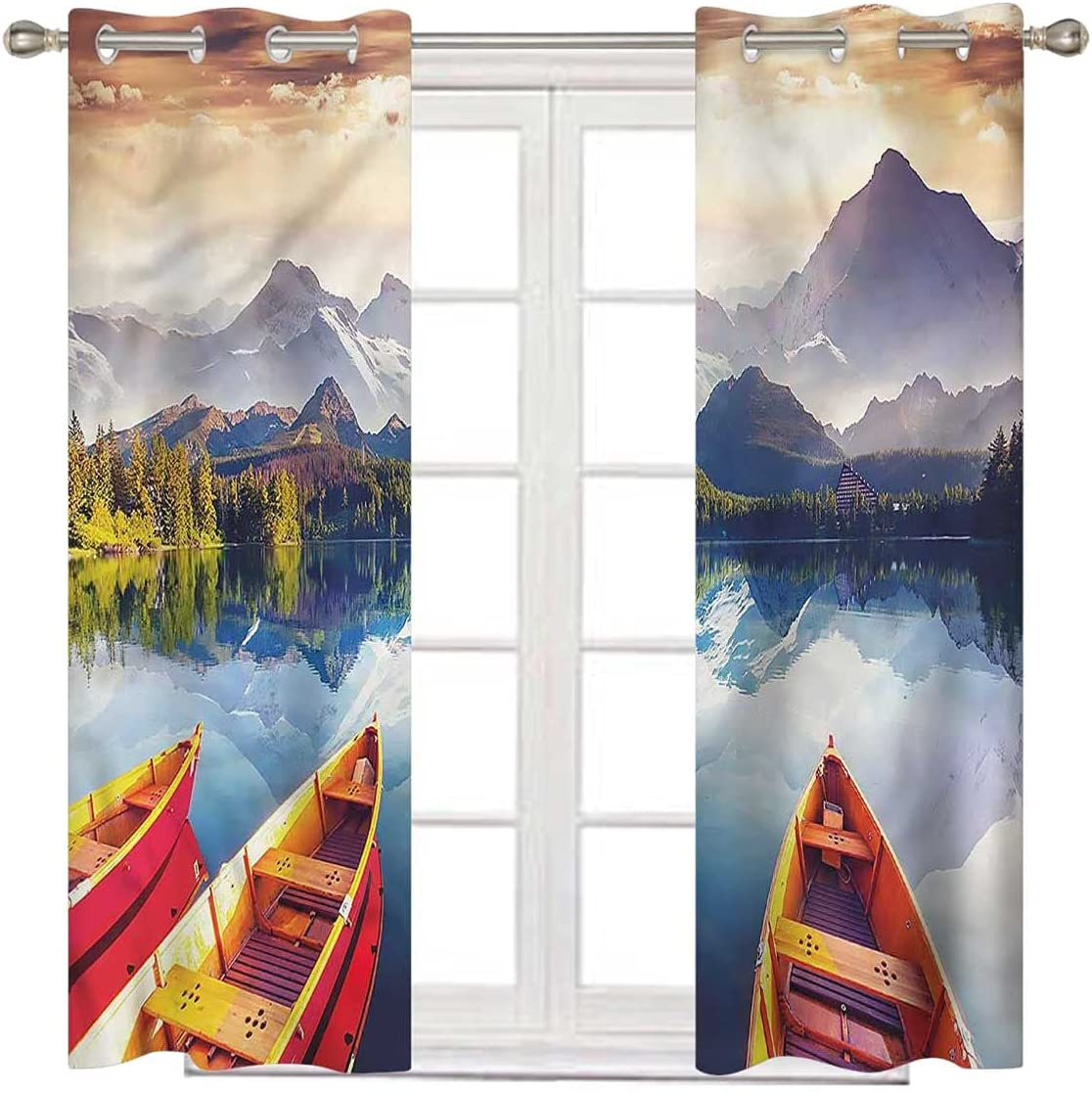 Super special price Nature 100% Blackout Curtains 108 Long Mountains Detroit Mall Boat Inch Shore