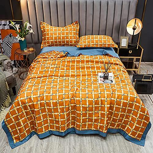 Trapunta Letto Singolo Comforter Estate Trapunta Piumino Lavabile Ghiaccio in Seta Aria condizionata Coperta per Letto Singolo Matrimoniale-Classico Europeo -...