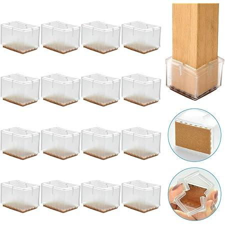 RMENOOR 16 Pcs Tapones para Patas de Sillas Patas de Silla de Silicona Antideslizantes Almohadillas para Muebles Tapones para Patas de Mesa Cuadrada Protectores de Piso Transparente