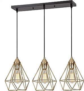 SEEBLEN 3- Light Indoor Island Pendant Light Gold Metal Hanging Ceiling Light Fixtures for Kitchen Kitchen Island Bar Dining Room Farmhouse Coffee Office